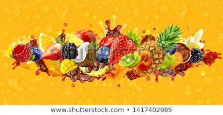 Frutti di bosco alimentare sfondo blu fragola dessert Foto d'archivio © M-studio