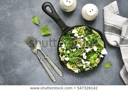 Makaronu brokuły para kręgle organiczny Zdjęcia stock © mpessaris