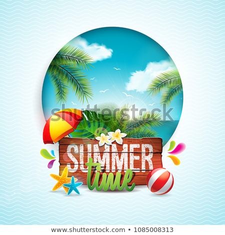vector hello summer holiday typographic illustration with toucan bird on vintage wood background tr stock photo © articular