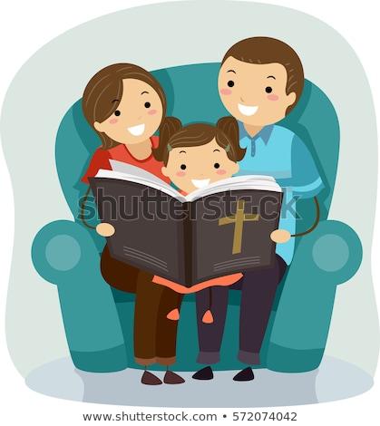 Familia Biblia lectura nino nina ilustración Foto stock © lenm