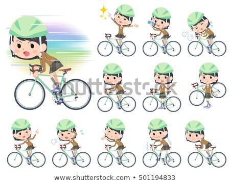 Uczennica brązowy rower zestaw różny Zdjęcia stock © toyotoyo