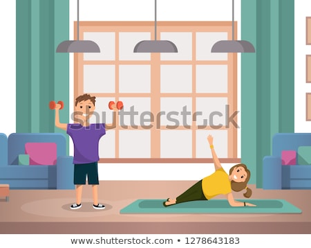 Little Boy Is Exercising With A Dumbbell In His Hands Vector. Sport. Healthy. Isolated Illustration Stock photo © pikepicture