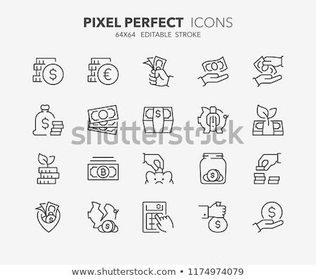 Money Bag with Bitcoin Thin Line Vector Icon Stock photo © smoki