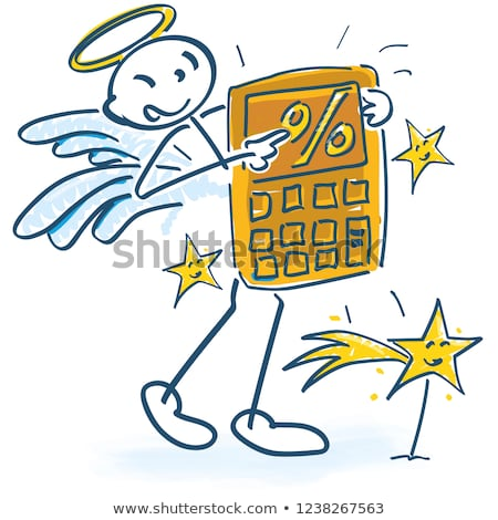 Stick figures as angels with calculator and percent Stock photo © Ustofre9