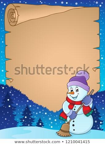 Tél hóember pergamen papír boldog művészet Stock fotó © clairev
