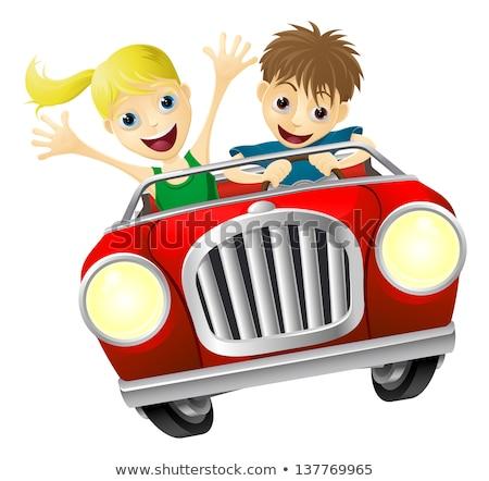 Cartoon glimlachend race auto bestuurder vrouw vrouw glimlachen Stockfoto © cthoman