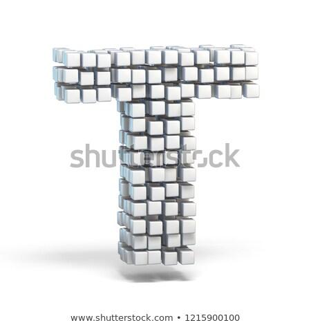 Fehér kockák betűtípus t betű 3D 3d render Stock fotó © djmilic