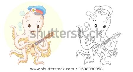 Ahtapot Hayvan Boyama Kitabı Karikatür örnek Vektör