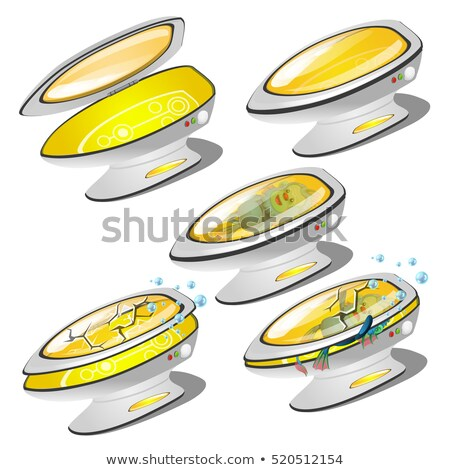 A single capsule to transport with a cracked glass isolated on white background. Vector illustration Stock photo © Lady-Luck