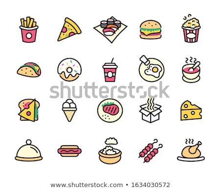 Hamburger Brathähnchen serviert Sauce Nudeln Fast-Food Stock foto © robuart