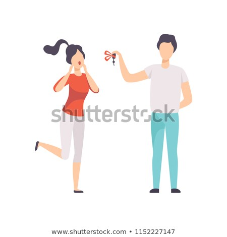 man giving woman keys of red car vector present gift illustration stock photo © pikepicture