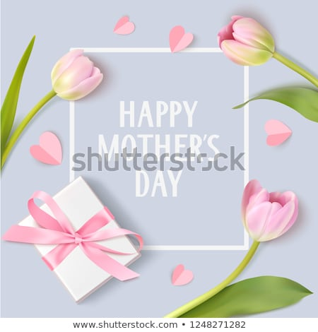 Gift box and pink tulips stock photo © Lana_M