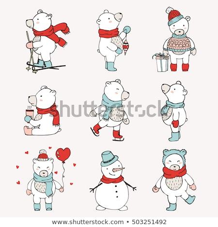 cute · christmas · winter · beer · doodle - stockfoto © balasoiu