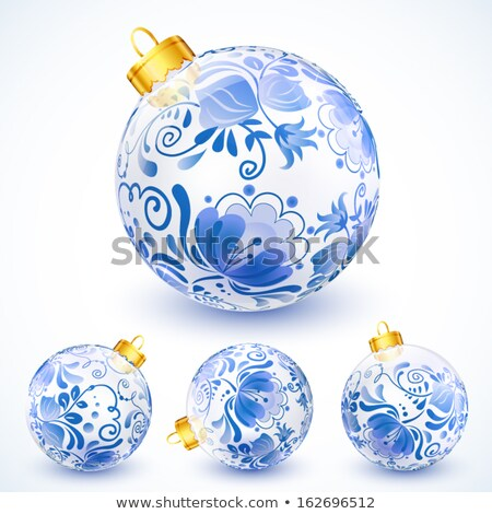 Colorful Glossy Christmas Balls with Ornamental Flower Design Ve Stock photo © cidepix