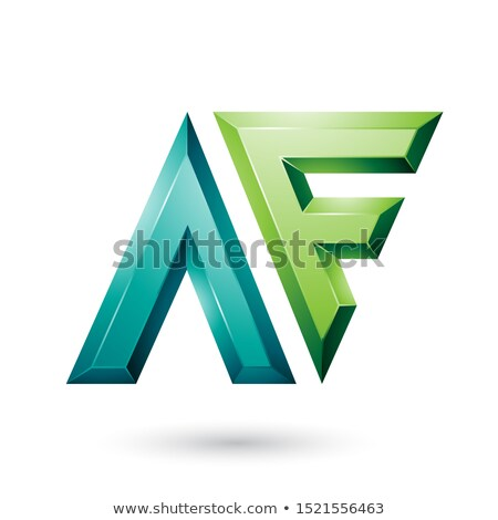 Dark and Light Green Glossy Dual Letters of Letters A and F Vect Stock photo © cidepix