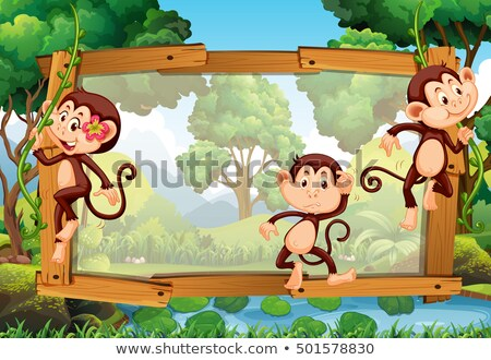 frame design with three monkeys in the woods stock photo © colematt