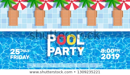Swimming Pool Vector Banner with People Bathing Stock photo © robuart