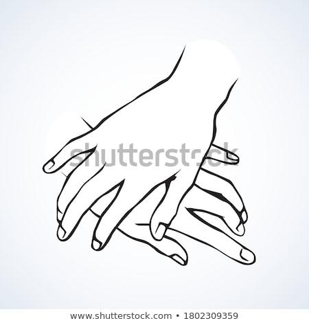 Férfi kezek papír pár piktogram emberek Stock fotó © dolgachov