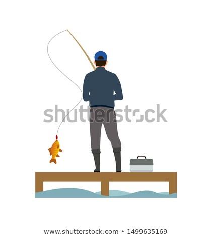 Pescador peces banner aislado blanco Foto stock © robuart