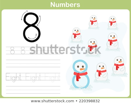 Número oito alfabeto ovo escrita criança Foto stock © colematt