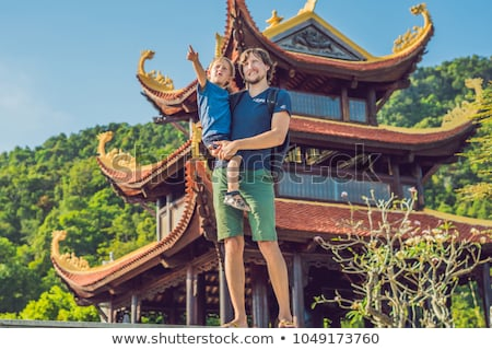 boy tourist in pagoda travel to asia concept traveling with a baby concept stock photo © galitskaya