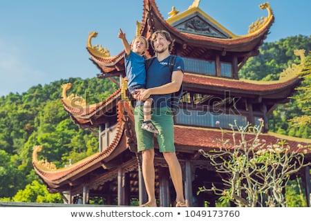 Fiú turista pagoda utazás Ázsia utazó Stock fotó © galitskaya