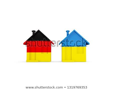 Kettő házak zászlók Németország Ukrajna izolált Stock fotó © MikhailMishchenko