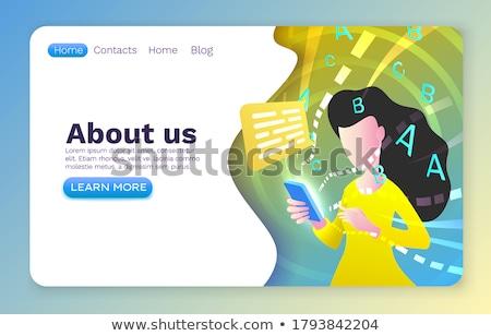 Persoon praten telefoon wolk technologie Blauw Stockfoto © ra2studio