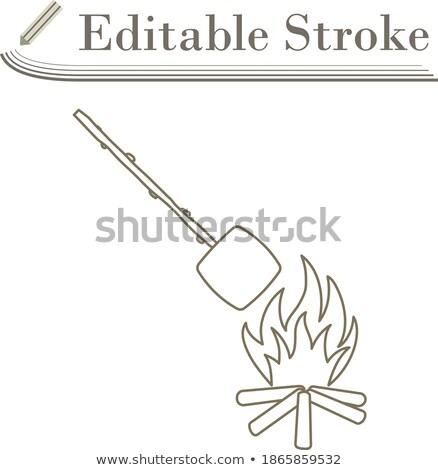 Kempingezés tűz mályvacukor terv ikon ui Stock fotó © angelp