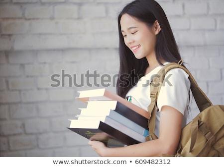 Asya öğrenci kitap kütüphane kadın Stok fotoğraf © artfotodima