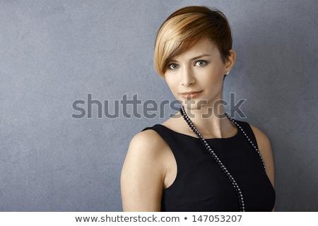 photo · adorable · brunette · femme · robe · noire - photo stock © deandrobot