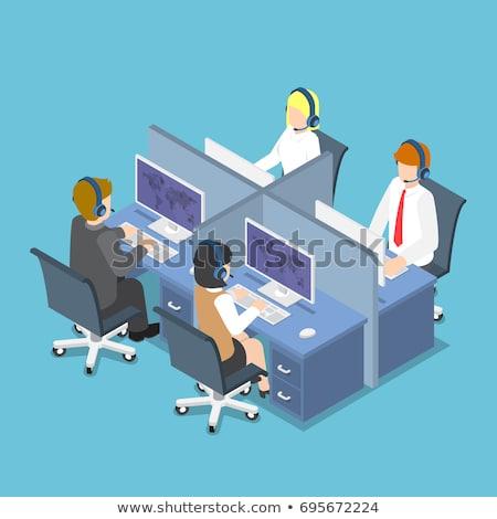 Stock fotó: ügyfélszolgálat · kezelő · izometrikus · 3d · illusztráció · visel · headset