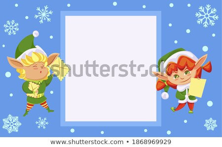 Best Wishes from Santa Claus, Elf Preparing Gifts Stock photo © robuart