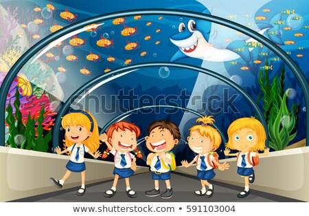 Diákok akvárium hal illusztráció gyermek háttér Stock fotó © colematt