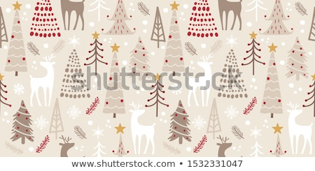 Seamless background template with Santa and snowman Stock photo © colematt