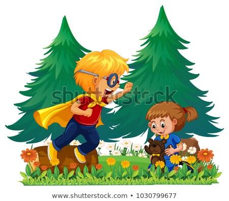 Jongen spelen held meisje kind landschap Stockfoto © colematt