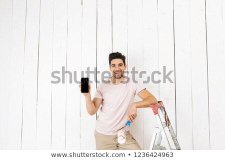 foto · mannelijk · man · 20s · schilderij · witte - stockfoto © deandrobot