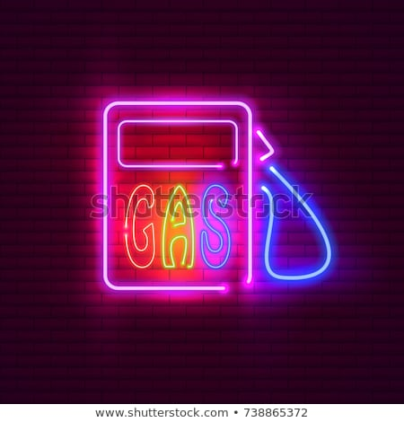 color vintage gas station poster stockfoto © netkov1
