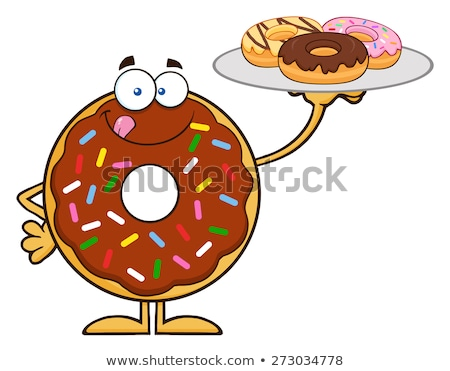 sweet donut cartoon character serving donuts stock photo © hittoon