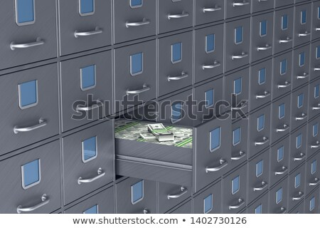 Wall from filing cabinet. Open box with money. 3D illustration Stock photo © ISerg