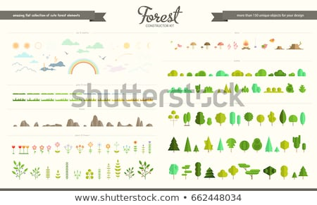 набор · сцена · иллюстрация · дерево · природы · фон - Сток-фото © colematt