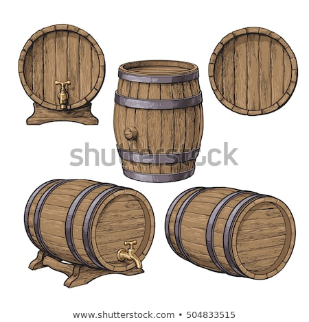 Lying Retro Brown Wooden Beer Keg Barrel Vector Stock photo © pikepicture