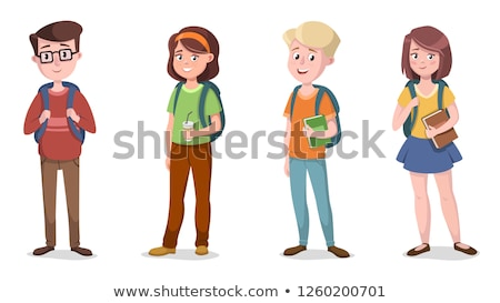 shy characters young boy and girl smiling vector stock photo © pikepicture