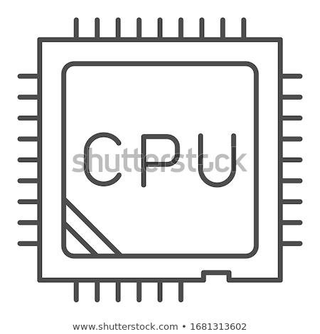 マイクロチップ アイコン のCPU  セントラル ユニット コンピュータ ストックフォト © kyryloff