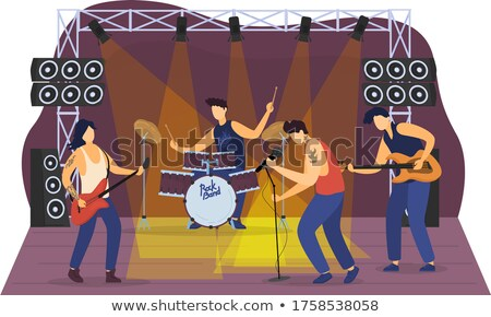 Stock photo: Musician Giving Performance for People Dancing