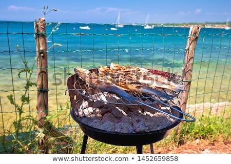 Hal grill mediterrán tengerpart idilli vakáció Stock fotó © xbrchx
