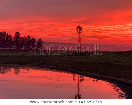 Light morning fog, windmill, pond with red sunrise sky in rural  Stock photo © lovleah