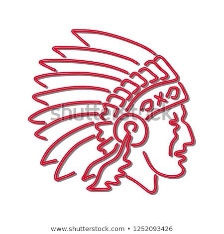 őslakos · amerikai · indián · illusztráció · természet · férfiak · sziluett - stock fotó © patrimonio