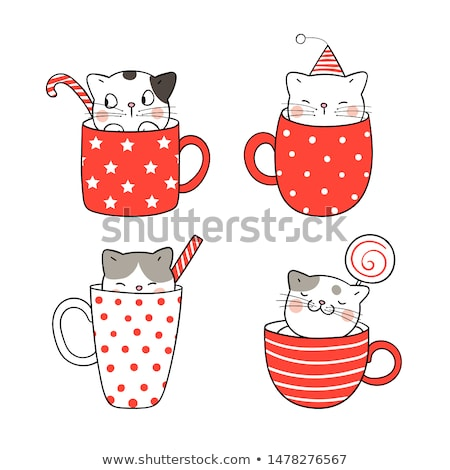 Vector character of cute cat in a cup of coffee Stock photo © amaomam