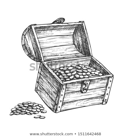 Treasure Chest Piles Of Coins Around Ink Vector Stock photo © pikepicture